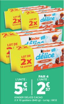 4 Paquets de 20 Kinder Délice (soit 80 sachets)