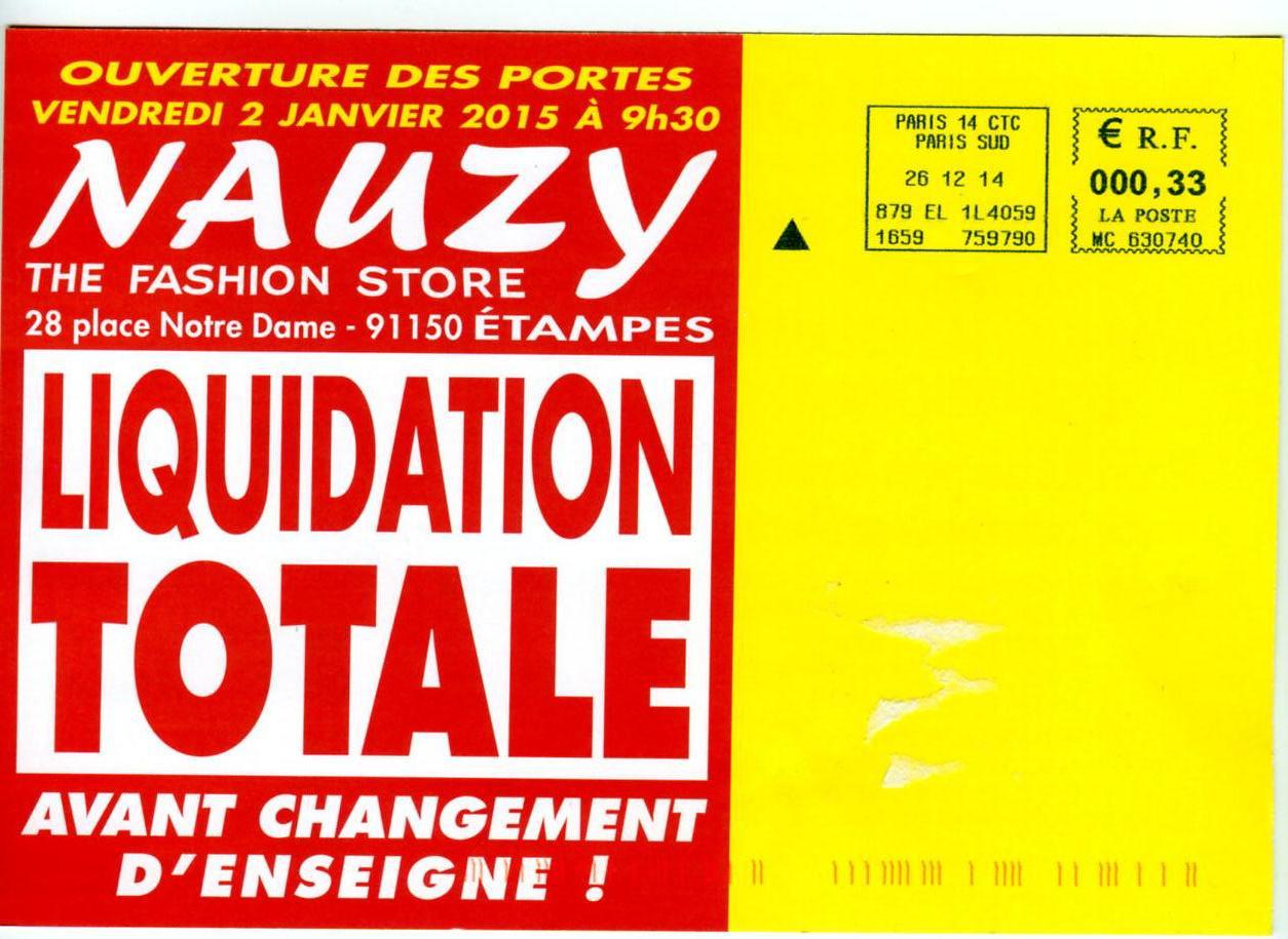 "Liquidation totale du magasin ""Nauzy The fashion Store"""