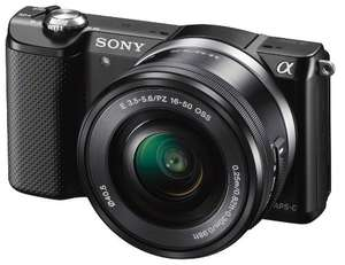 Appareil photo Hybride Sony A5000 + Objectif 16-50 mm rétractable, Noir ou Blanc