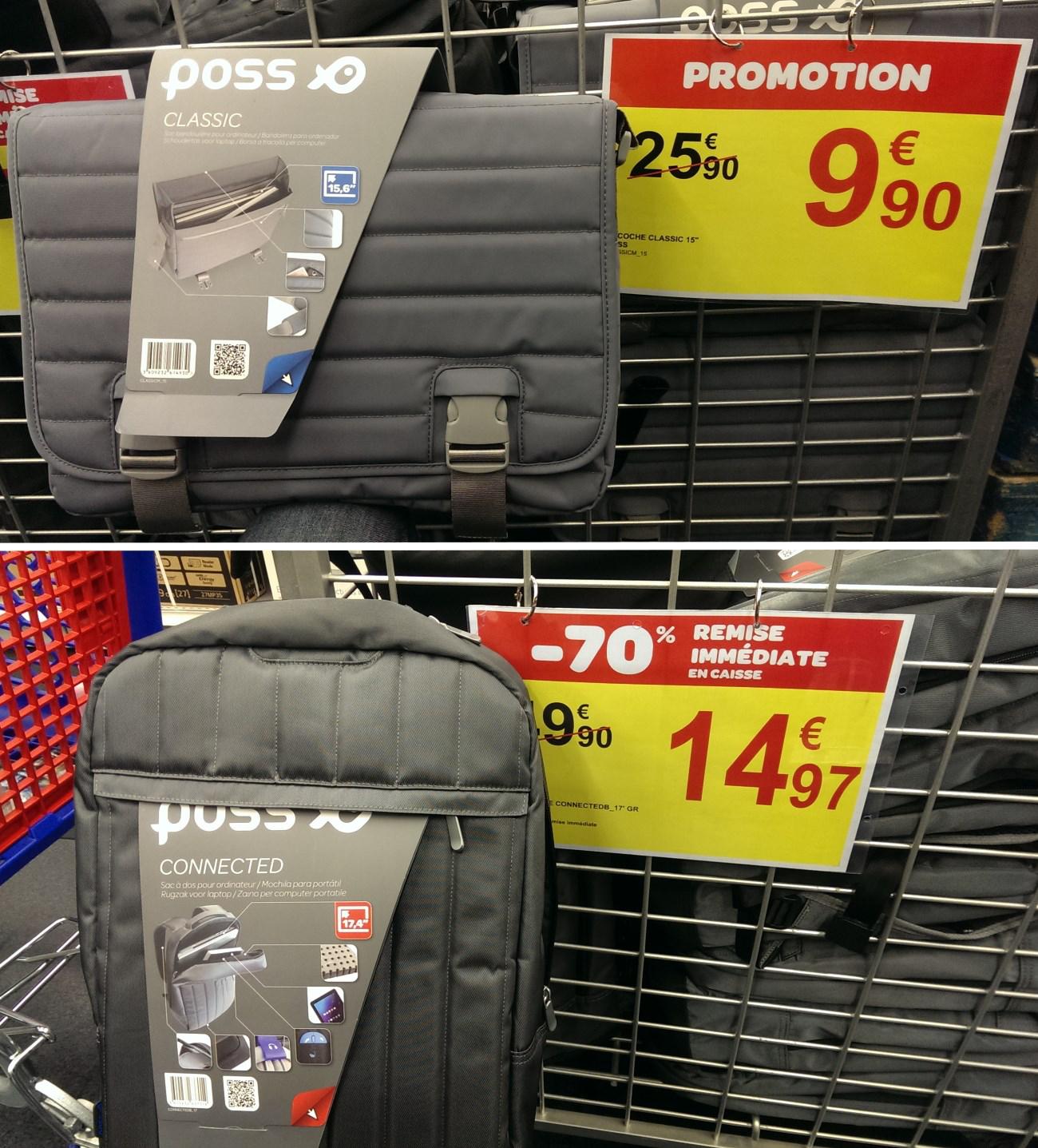"""Sacoche Poss pour PC Portable 15.6"""" à 9.9€ et Sac à dos Poss pour PC Portable 17.4"""""""