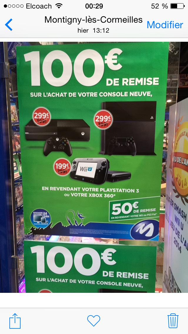 100€ de remise sur l'achat d'une PS4 / Xbox One pour la reprise d'une console PS3 Slim ou UltraSlim