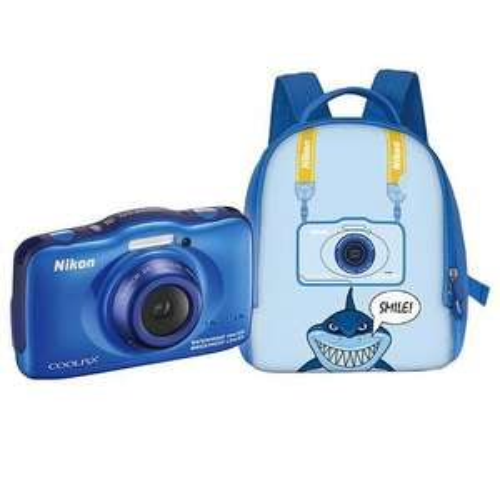Appareil photo  pour enfants/ados (Étanche 10 m - CMOS 13.2 MP) - Nikon Coolpix S32 Bleu + Sac a dos
