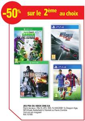 Un jeu EA PS4 ou Xbox One acheté = Le 2ème à -50% parmi une sélection