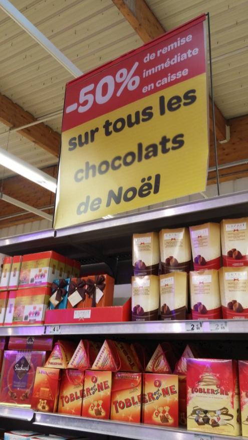 50% de remise sur tous les chocolats de Noël