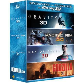 Coffret 4 Blu-ray : Gravity + Pacific Rim + Man of Steel + Godzilla (Combo Blu-ray 3D + Blu-ray 2D)