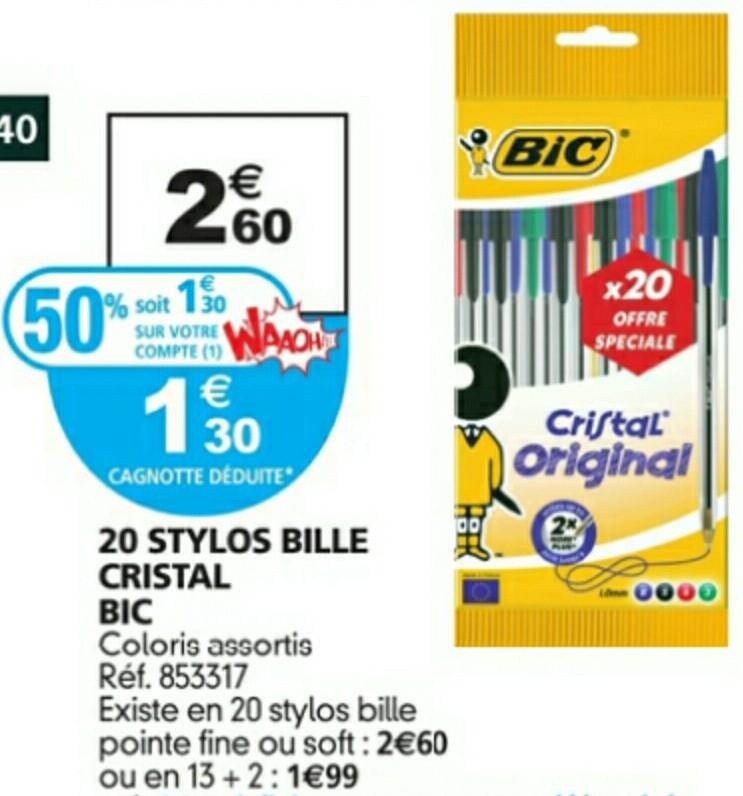 20 Stylos à bille Cristal BIC (50% sur carte)