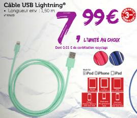 Câble USB Lightning smartphones, tablettes et baladeurs Apple