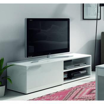 Meuble TV Kikua 130 cm - Blanc brillant