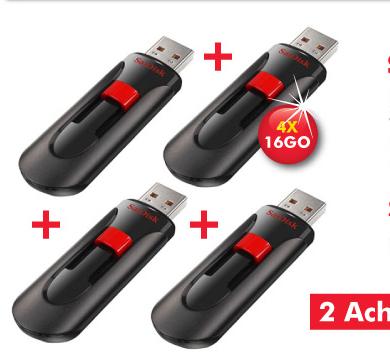 Pack de 4 Clés USB 2.0 SanDisk Cruzer Glide 16GO