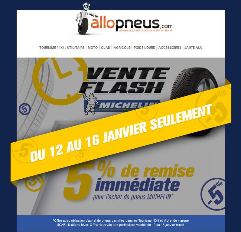 5% de réduction sur les pneus Michelin