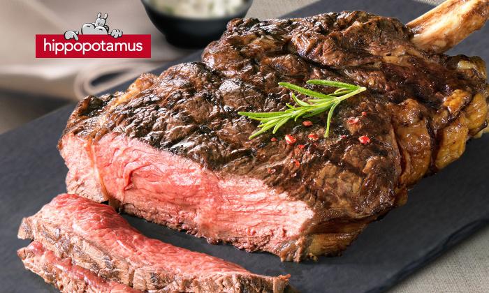 un plat acheté = un plat au choix offert pour 0.85 € chez Hippopotamus