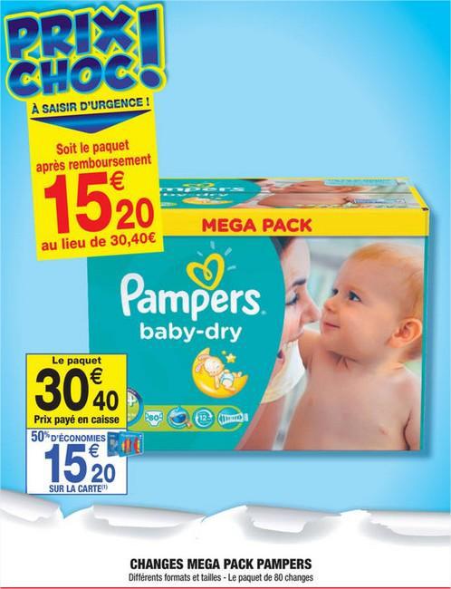 Le paquet de 80 changes Pampers  Baby-Dry (50% sur la carte)