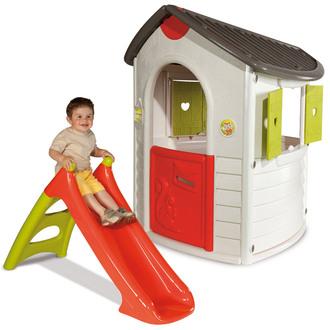 Cabane enfant Smoby Natur'home + Toboggan XS