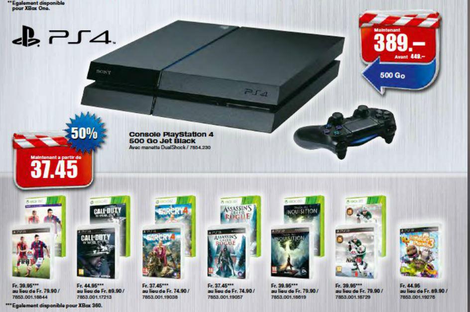 Console Playstation 4 + 1 manette (+ Jeux ps3 et xbox 360 à -40%, voir description)