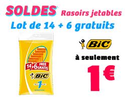 lot de 14 + 6 gratuits rasoirs jetables Bic 1 lame + Lot de 10 Rasoirs 2 Lames Bic Confort