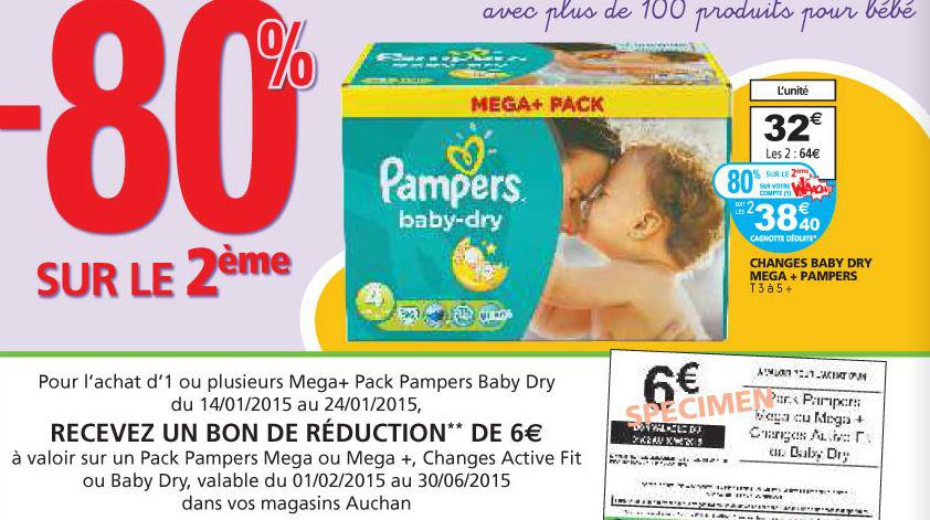 2 x Mega + Pack Pampers Baby Dry (avec 40% sur la carte fidélité)
