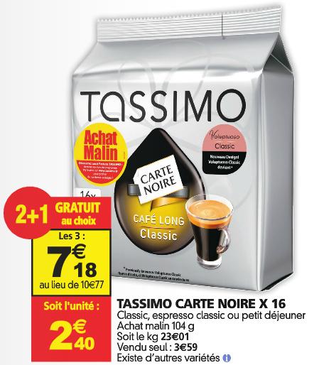 Lot de 3 paquets de 16 dosettes Tassimo café Carte Noire (Cappucino, Milka, Twinnings) - 48 dosettes