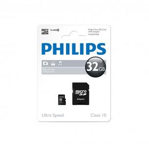 Carte microSDHC Philips 32 Go - Classe 10 + adaptateur SD