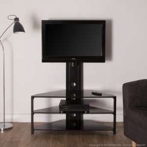 meuble tv d 39 angle en m tal verre tremp noir. Black Bedroom Furniture Sets. Home Design Ideas