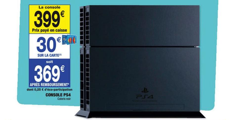 Console Sony Playstation 4 (Avec 30€ sur la carte)