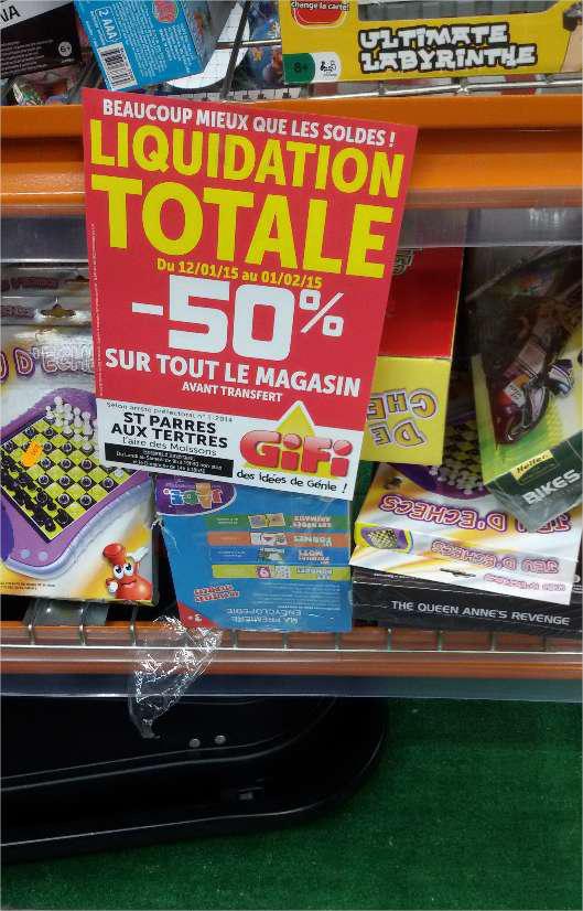 50% de réduction sur l'ensemble du magasin (Liquidation totale)