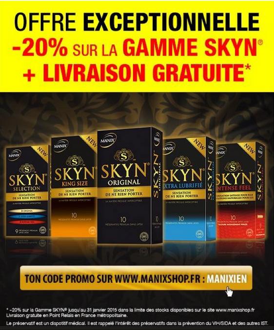 20% de réduction sur la gamme Manix Skin + port gratuit