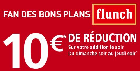 10€ de réduction sur votre addition le soir dès 20€ pour 2 personnes au minimum