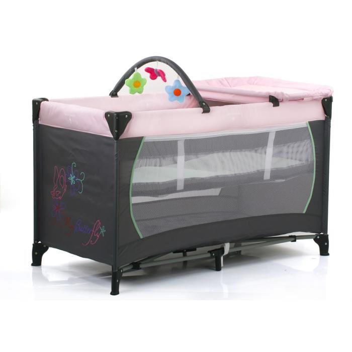 Lit parapluie Tendre à croquer Dream N Play Center - Gris/rose ou Marron/Bleu