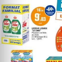 Lessive liquide Le Chat 2 x 3L (80 lavages)