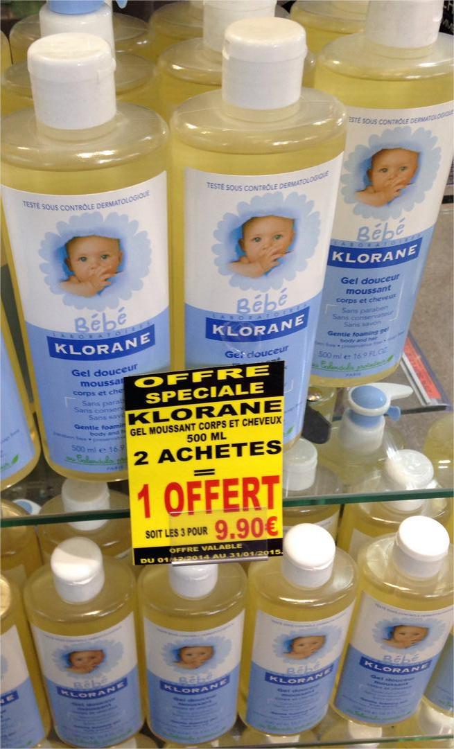 Gel moussant corps et cheveux Klorane Bébé 500ml