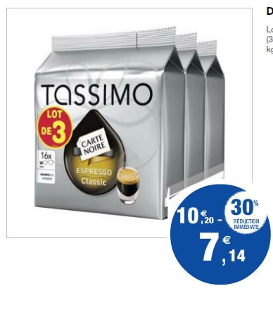 Lot de 3 paquets de 16 dosettes Tassimo  (Avec BDR)