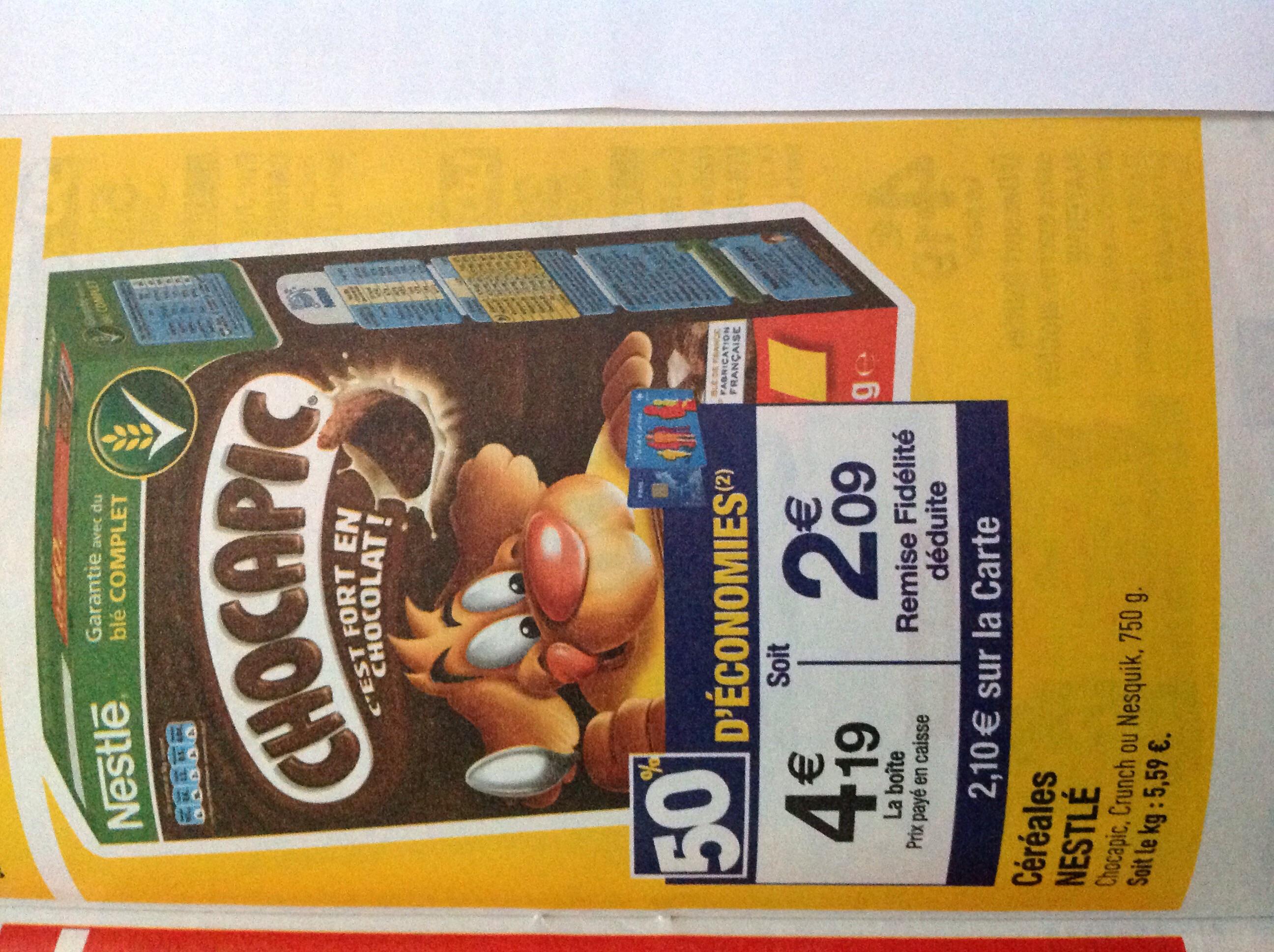 Céréales Chocapic 750g (50% sur la carte + Bdr 1.30€)
