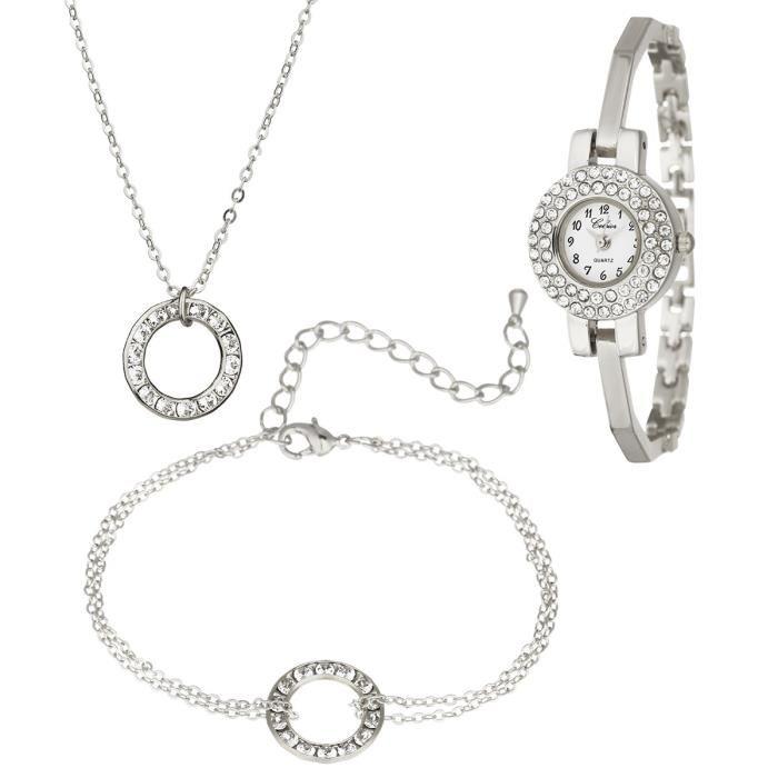 Parure (une montre, un collier, un bracelet)  Ceksior ornée de Swarovski Elements