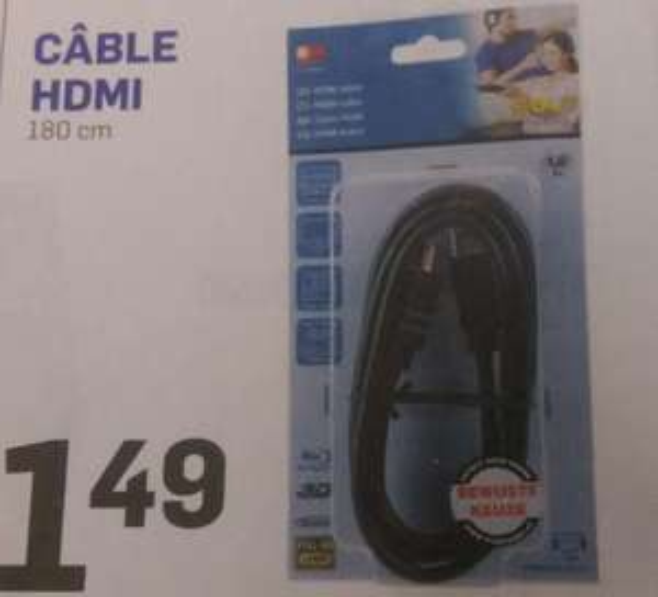 Câble HDMI v1.4 longueur 1.8m