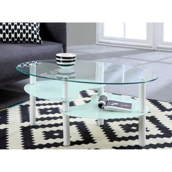 Table basse en verre blanc Silva