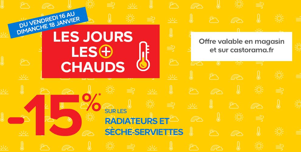 15% sur tous les radiateurs et sèche-serviettes en ligne et en magasin