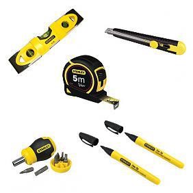 Pack Stanley 6 outils (Niveau + Cutter + Mètre + Tournevis + Embouts + Marqueurs)