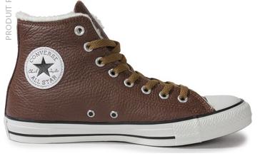 Chaussures en cuir Converse Chuck Taylor All-star Hi - Marron