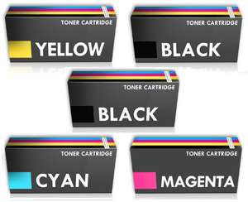 Lot 5 toners pour imprimante laser Dell 1250 (2 noirs, 1 jaune, 1 bleu, 1 rouge)