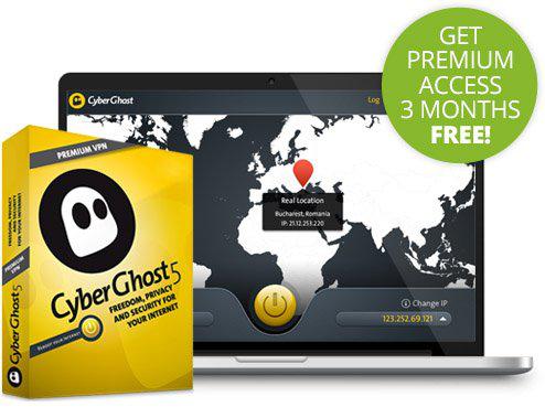 Abonnement Gratuit  de 3 mois à Cyberghost VPN Premium