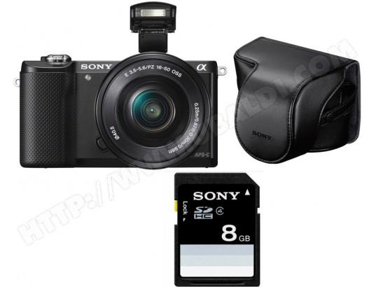 Appareil photo Hybride Sony Alpha 5000 noir + 16-50 mm + Etui + carte SD 8 Go