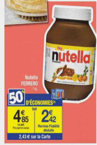 Pot de 1kg de Nutella (avec 50% sur la carte)
