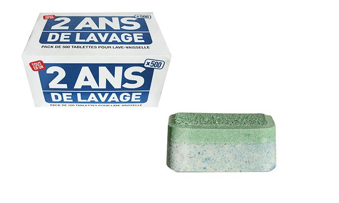 500 tablettes pour lave-vaisselle 4 en 1 : lavage, séchage, rinçage, sel