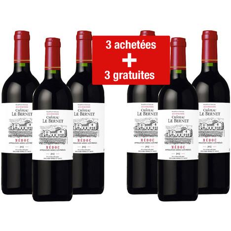 Lot de 6 bouteilles de vin Château Le Bernet Médoc Rouge 2012
