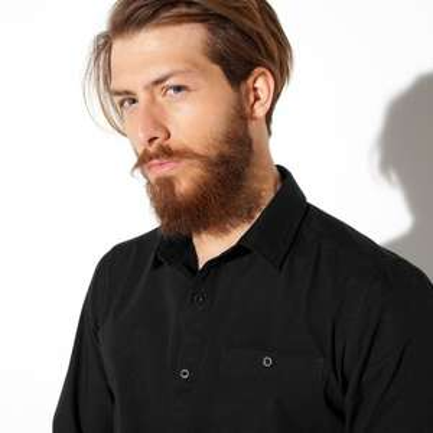 Chemise unie à manches longues en coton noire toutes tailles