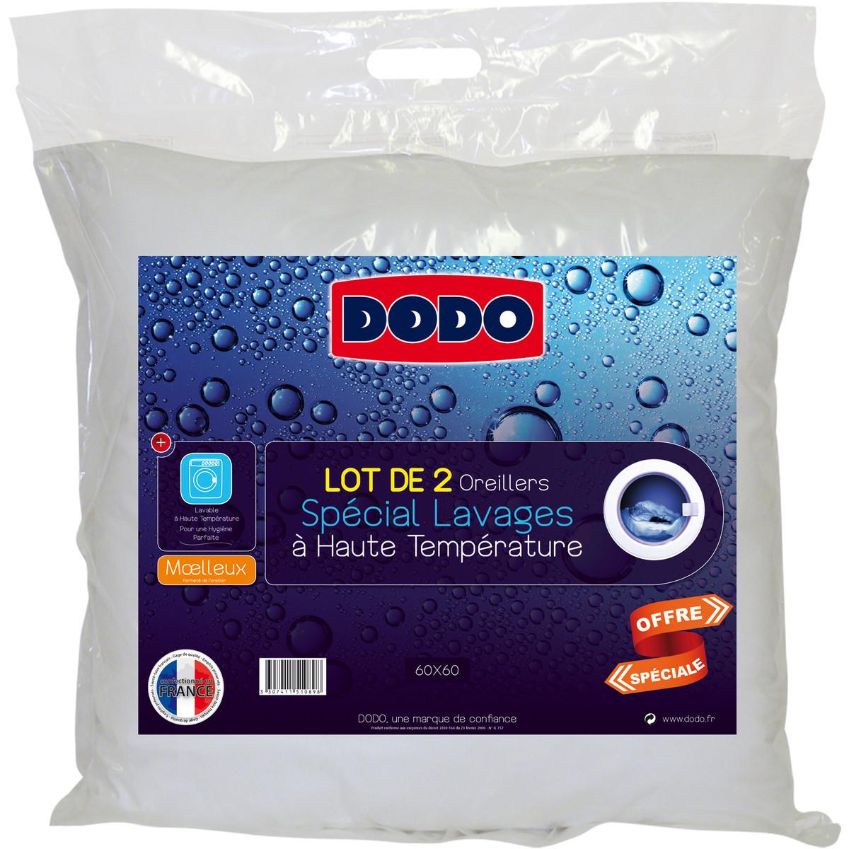 Lot de 2 oreillers moelleux Dodo - Polyester - Spécial Lavages à haute température