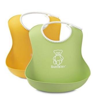 lot de 2 bavoirs souples Babybjörn Vert et jaune